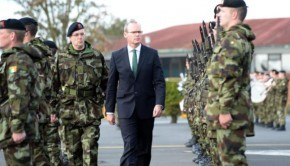 Minister for Defence, Simon Coveney TD, reviewing Irish Troops preparing to deploy to Golan Heights.